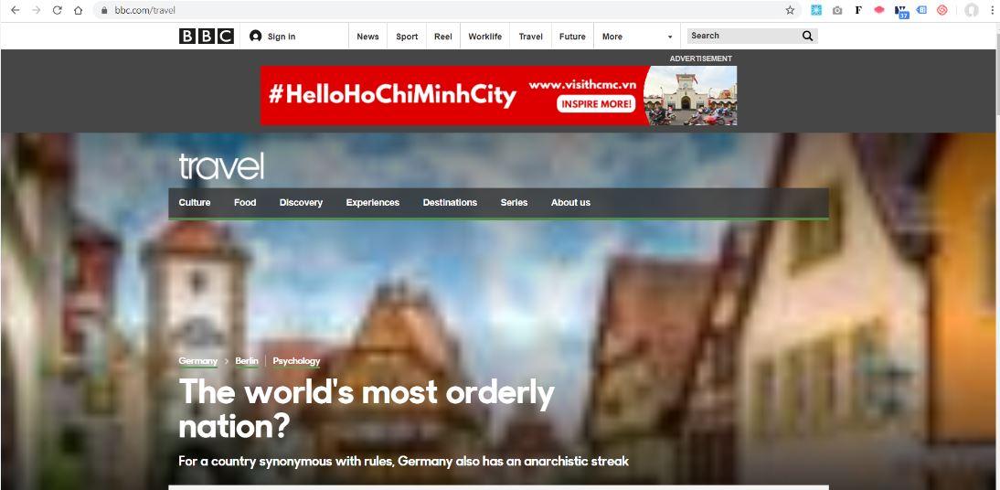 Banner quảng bá du lịch của Tp. HCM trên website BBC Travel